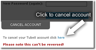 Cancel your Tube8 account